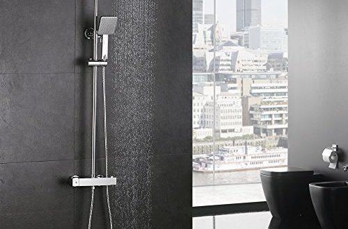 Homelody Duschsystem mit Thermostat Regendusche Duschset Duschsäule Dusche Duscharmatur Brausethermostat Shower inkl. Verstellbar Duschstange Kopfbrause Handbrause