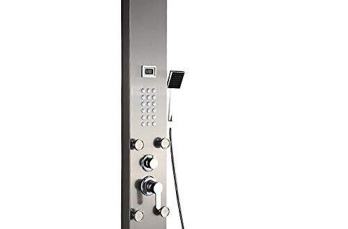 Auralum Edelstahl Duschpaneel ohne Armatur | 3 Funktionen Regendusche Duschset mit Wassertemperaturanzeige