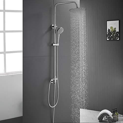 AuraLum Verstellbare Dusche mit 10 Zoll(25CM) Edelstahl-Spitzenspray Regendusche| Duschset 5 Funktionen Handbrause| Duschstange in der Höhe 880-1260mm verstellt