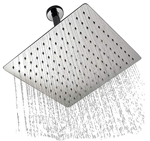 TeamTech 12 Zoll Regendusche Quadratisch Einbauduschköpfe, 304 Edelstahl Duschkopf Wasserfall Regenbrause 30X30 cm Brausekopf aus Edelstahl mit Anti-Kalk-Düsen, poliert Spiegeleffekt Regenduschkopf