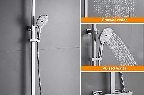 WOOHSE Duschsystem mit Thermostat Regendusche Duschset Edelstahl Duschsaeule mit Kopfbrause 500x330 - WOOHSE Duschsystem mit Thermostat Regendusche Duschset Edelstahl Duschsäule mit Kopfbrause, 3 Strahlarten Handbrause und Verstellbarer Duschstange Brausegarnitur Duscharmatur Dusche Duschsäule für Bad